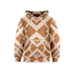 Fabric Textile Tan Beige Geometric Kids  Pullover Hoodie by Nexatart