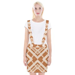 Fabric Textile Tan Beige Geometric Suspender Skirt