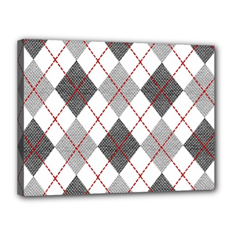 Fabric Texture Argyle Design Grey Canvas 16  X 12  by Nexatart