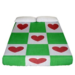 Fabric Texture Hearts Checkerboard Fitted Sheet (california King Size)