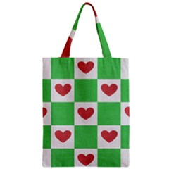 Fabric Texture Hearts Checkerboard Zipper Classic Tote Bag