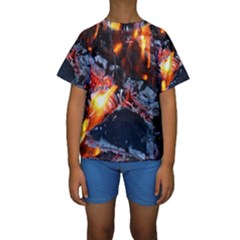 Fire Embers Flame Heat Flames Hot Kids  Short Sleeve Swimwear