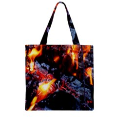 Fire Embers Flame Heat Flames Hot Zipper Grocery Tote Bag
