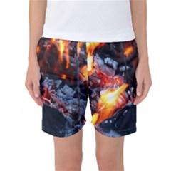 Fire Embers Flame Heat Flames Hot Women s Basketball Shorts
