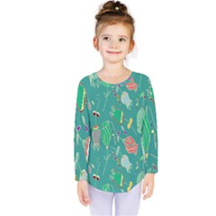 Floral Elegant Background Kids  Long Sleeve Tee by Nexatart