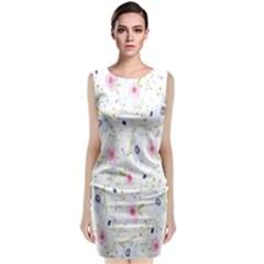 Floral Pattern Background  Classic Sleeveless Midi Dress