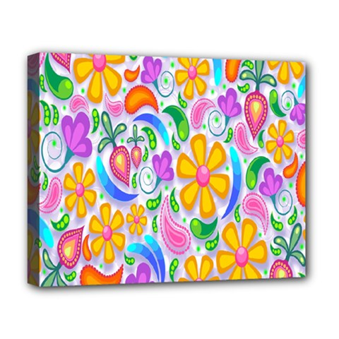 Floral Paisley Background Flower Deluxe Canvas 20  X 16   by Nexatart