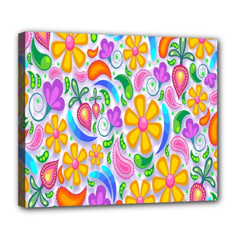 Floral Paisley Background Flower Deluxe Canvas 24  X 20   by Nexatart