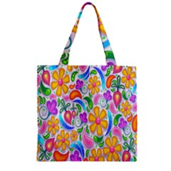 Floral Paisley Background Flower Zipper Grocery Tote Bag