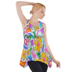 Floral Paisley Background Flower Side Drop Tank Tunic
