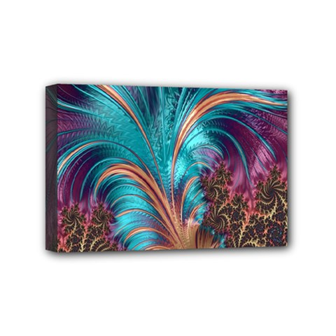 Feather Fractal Artistic Design Mini Canvas 6  X 4  by Nexatart