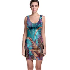 Feather Fractal Artistic Design Sleeveless Bodycon Dress