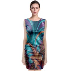 Feather Fractal Artistic Design Classic Sleeveless Midi Dress