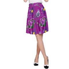 Flower Pattern A Line Skirt