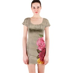Flower Floral Bouquet Background Short Sleeve Bodycon Dress