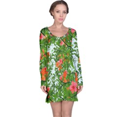 Flower Background Backdrop Pattern Long Sleeve Nightdress