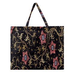 Floral Pattern Background Zipper Large Tote Bag by Nexatart