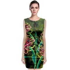 Flowers Abstract Decoration Classic Sleeveless Midi Dress