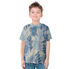 Flowers Blue Patterns Fabric Kids  Cotton Tee