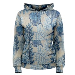 Flowers Blue Patterns Fabric Women s Pullover Hoodie