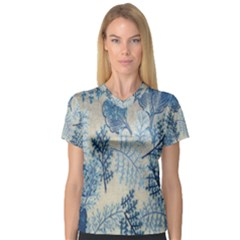 Flowers Blue Patterns Fabric Women s V Neck Sport Mesh Tee by Nexatart