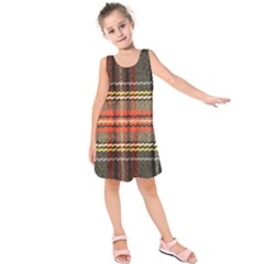 Fabric Texture Tartan Color Kids  Sleeveless Dress by Nexatart