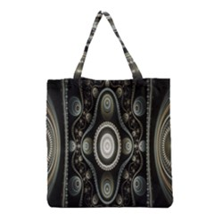 Fractal Beige Blue Abstract Grocery Tote Bag