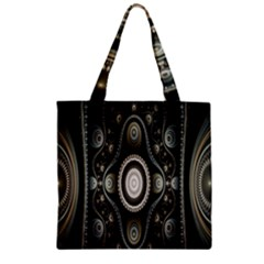 Fractal Beige Blue Abstract Zipper Grocery Tote Bag by Nexatart