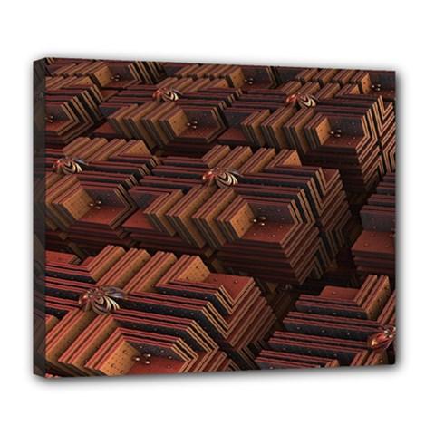 Fractal 3d Render Futuristic Deluxe Canvas 24  X 20