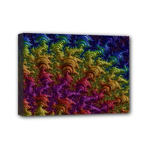 Fractal Art Design Colorful Mini Canvas 7  X 5