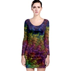 Fractal Art Design Colorful Long Sleeve Bodycon Dress by Nexatart