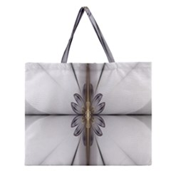 Fractal Fleur Elegance Flower Zipper Large Tote Bag by Nexatart