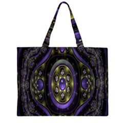 Fractal Sparkling Purple Abstract Zipper Large Tote Bag by Nexatart