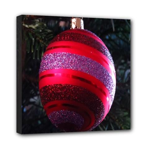 Glass Ball Decorated Beautiful Red Mini Canvas 8  X 8