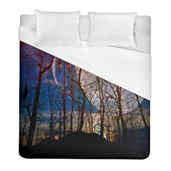 Full Moon Forest Night Darkness Duvet Cover (full/ Double Size) by Nexatart