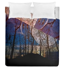 Full Moon Forest Night Darkness Duvet Cover Double Side (queen Size) by Nexatart