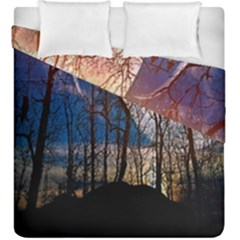 Full Moon Forest Night Darkness Duvet Cover Double Side (king Size) by Nexatart