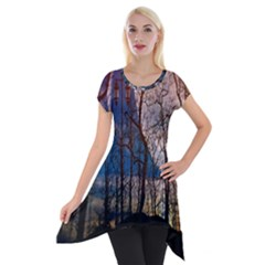 Full Moon Forest Night Darkness Short Sleeve Side Drop Tunic by Nexatart