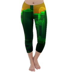 Green Building City Night Capri Winter Leggings