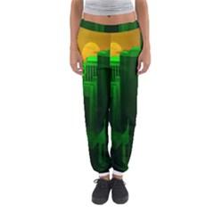 Green Building City Night Women s Jogger Sweatpants
