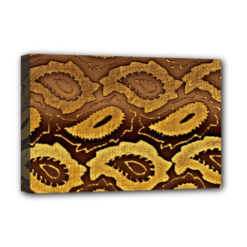 Golden Patterned Paper Deluxe Canvas 18  X 12   by Nexatart