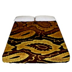 Golden Patterned Paper Fitted Sheet (queen Size) by Nexatart