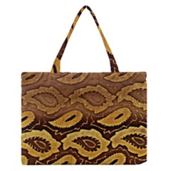 Golden Patterned Paper Medium Zipper Tote Bag by Nexatart