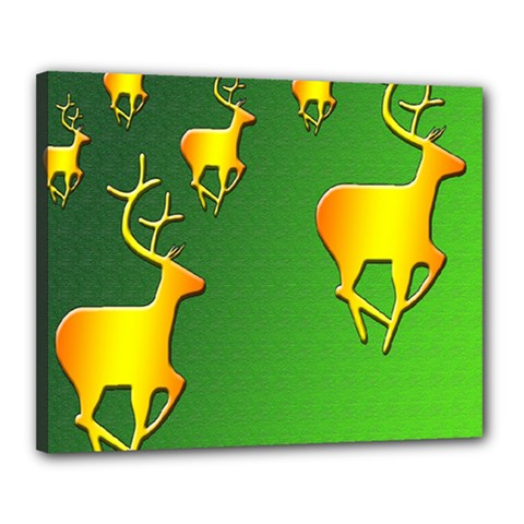 Gold Reindeer Canvas 20  X 16