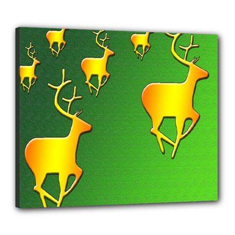 Gold Reindeer Canvas 24  X 20  by Nexatart