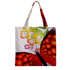 Greeting Card Butterfly Kringel Zipper Grocery Tote Bag by Nexatart
