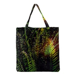 Green Leaves Psychedelic Paint Grocery Tote Bag by Nexatart