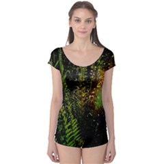 Green Leaves Psychedelic Paint Boyleg Leotard  by Nexatart