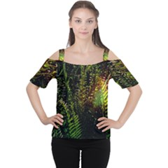 Green Leaves Psychedelic Paint Women s Cutout Shoulder Tee