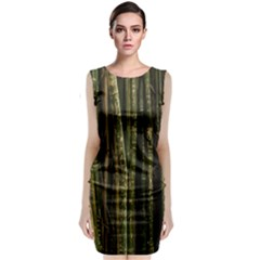 Green And Brown Bamboo Trees Classic Sleeveless Midi Dress